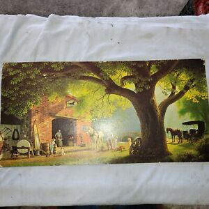 Vintage Farm Girl with Calf Canvas Art Print 20 tall x 16 wide