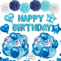 Blue Balloons Birthday Decorations for Boys Men Baby with Blue Confetti Birthday