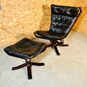 VINTAGE DANISH RETRO SIGURD RESELL LEATHER HIGH BACK  CHAIR & STOOL