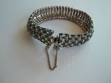SCHRAGER vintage bracelet,repair,parts,or wear,green+clear rhinestones,