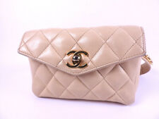 CHANEL Beige Lamb Leather Quilted Mini Waist Bum Belt Bag Fanny Pack Used