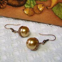 Acorn Earrings, Acorn Jewelry, Copper Pearl Acorn Earrings, Autumn Fall Earrings