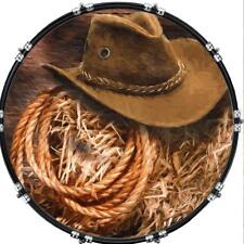 """Custom 22"""" Kick Bass Drum Head Graphical Image Front Skin Hat and Rope"""