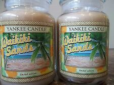 Yankee Candle  Waikiki Sands   22 oz Lot of 2  Tropical series Limited Edition