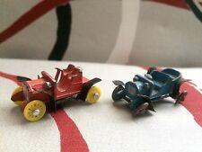 Miniature Diecast Metal Cars Japan 1909 Blue Model T and 1911 Red Buick Bug