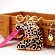 Hot Fashion Betsey Johnson Pendant Hot Rhinestone Leopard head Necklaces