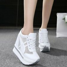 Women Hidden Wedge Heels Sneakers Lace Up Mesh Platform Casual Shoes Creepers @@