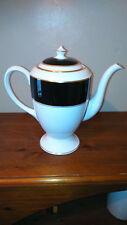 "ROYAL WORCESTER TEA/COFFEE POT   "" VENTURA  BLACK/GOLD/WHITE PATTERN 1985 """