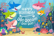 Cartoon Cute Baby Shark Kids Birthday Backdrop Under Sea Shark Theme Party Decor
