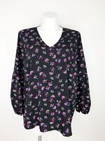 Lane Bryant Black Pink Floral V-Neck Long Sleeve Tunic Top Women's Plus Size 18