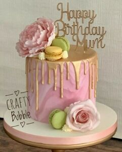 'Happy Birthday (NAME) ' Cake topper any colour WOODEN HAND MADE PERSONALISED
