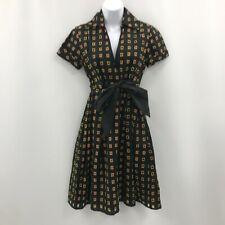 Diane Von Furstenberg Vestido UK 8 nos 4 Negro Estampado Camisa Fit & Flare 030704