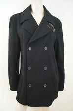DOLCE & GABBANA Menswear Black Wool Blend Brown Leather Casual Jacket Coat Sz:50
