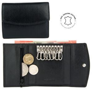 Genuine Full Grain Leather Key Holder Case 8 Keys Men Wallet Key Rings Notes NEW