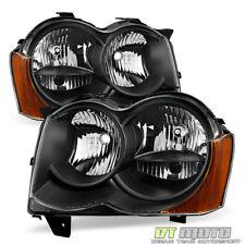 Black Halogen 2008 2009 2010 Jeep Grand Cherokee Headlights Headlamps Left+Right