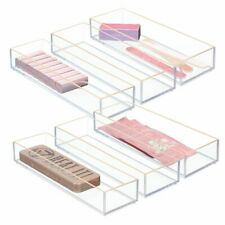 mDesign Stackable Plastic Storage Bin for Crafts, 6 Pack - Clear/Rose Gold