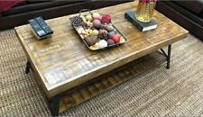 NEW Farmhouse Coffee Table Rustic Reclaim Solid Wood Distressed Accent Shelf