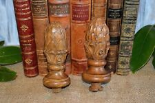 Antique Pair French Carved Wood Artichoke Pinecone Finials Post or Drapery