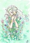 Good Scents Cartoon Fairy Flower Bouquet Open Edition Fantasy ACEO art PRINT ejw