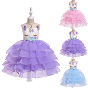 Kid's Girl Unicorn Sleeveless Flower Tutu Party Wedding Bridesmaid Prom Dress