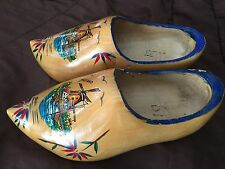 Dutch Wooden Clogs Made In Holland, Sailboat & Windmill Scene - See Pictures