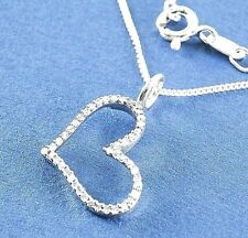 """Genuine Diamond Heart Necklace .16ct 925 Sterling Silver 20"""" chain List $480"""