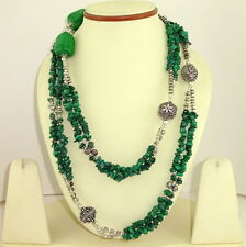 LONG NECKLACE NATURAL MALACHITE GEMSTONE CHIPS BEADED HANDMADE JEWELLERY 135 gm.