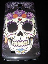 Sugar Skull Hard Cover Case for Samsung S4 IV Dia de los Muertos Purple Flowers