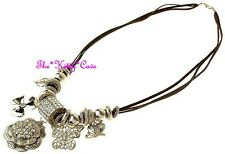 DESIGNER Gold Crystal 3d Rose Flower Butterfly Charms Couture Catwalk Necklace
