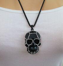 Halskette, Bettelkette, Modeschmuck, Totenkopf, Kristall Strass, Ghotic