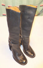 Vince Camuto  MID-CALF Black Leather Harness Boots Sz 6 M Quite Good