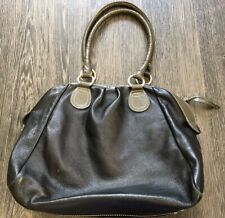 Boden large black leather handbag with patent leather gray trim