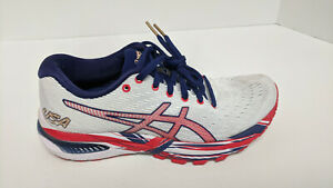 Asics Gel-Cumulus 22 Running Shoes, White/Red/Blue, Women's 7 M