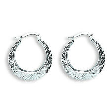 9ct White Gold Patterned Hoop Creole Earrings