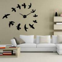 DIY Large Wall Clock Fly Birds 3D Mirror Mute Wall Clock Frameless Wall Stickers