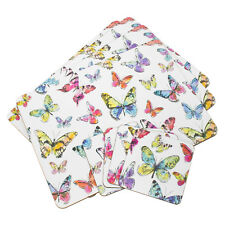 Set of 4 Placemats Coasters Table Place Settings Mats Colourful Butterfly Decor