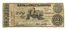1863 Bank of Chattanooga Tennessee 2 Dollars American Civil War Banknote