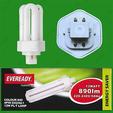2x 13W GX24Q-1 4 Pin CFL PL-T Double Turn Light Bulb 4000k Cool White Lamp
