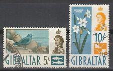 GIBRALTAR 1960 QEII BIRD FLOWER  5/- AND 10/- USED