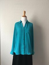The Limited Top Blouse Button Down Shirt Size S Blue Green Color Preowned Work