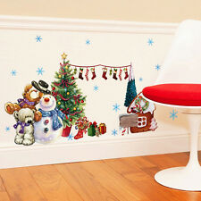 New Snowflake Merry Christmas Snowman Sock Wall Sticker Vinyl Decal Window Decor