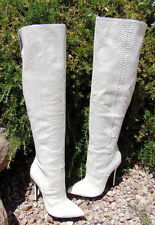 8.5  White Snake Leather Print over the Knee Boots !!LONDON TRASH 'Lorelei'  NIB