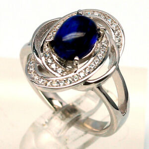 NATURAL 6 X 8 mm. BLUE SAPPHIRE & WHITE CZ 925 STERLING SILVER RING SZ 5.75