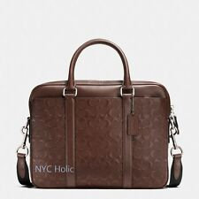 Coach F55063 Perry Compact Brief In Signature Crossgrain Leather Mahogany $495