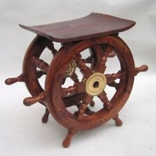 "APPROX 18"" X 15"" WOODEN SHIP WHEEL TABLE-NAUTICAL DECOR-MARITIME Halloween"