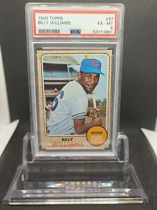 1968 TOPPS BILLY WILLIAMS PSA 6 EX MINT #37 CHICAGO CUBS HOF - RARE NEW LABEL!!