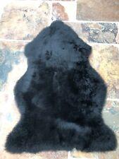 Genuine Real Sheepskin Rug in Jet Black Fluffy and Plush