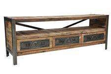 INDUSTRIAL STYLE TV UNIT WITH 1 SHELF &3 DRAWERS - MADE FROM BOAT WOOD AND STEEL