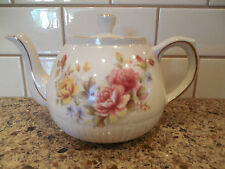Vintage Ellgreave Tea Pot Made in England Floral Pink Yellow Roses (Wood & Sons)