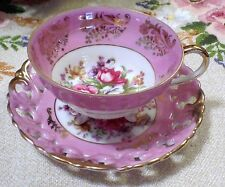 Beautiful pink gold floral vintage footed cup & saucer  Royal Sealy China -Japan